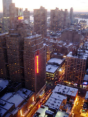 A Above View Of A Snowy And Cold Midtown Manhattan.
