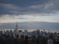 The Midtown Manhattan Skyline, Showing Spires Of The Empire State And Chrysler Buildings