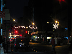 Sign Welcoming Visitors To Noho, An Acronym For North Of Houston Street.