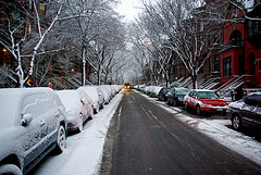 Snowy, Wintry Day On Park Slope In Brooklyn