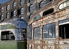 Old Trolley Cars - Red Hook, Brooklyn