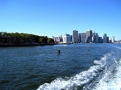 View Of Wake From South Ferry Leaving Manhattan Skyline.