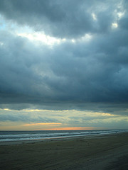 Gorgeous Sand, Clouds & Sea At Sunset On Rockaway Beach, Queens