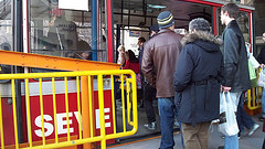 Line Of Warmly-dressed People Boarding The Roosevelt Island Tramway In February