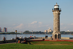 Roosevelt Island Lighthouse, a Narrow Island In The East River Of New York City.
