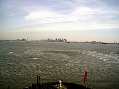 Sight Of New York City From Staten Island Ferry, Sailing In Hudson River