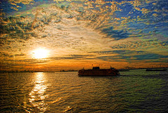 Amazingly Beautiful Shot Of The Staten Island Ferry At Sunset