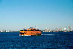 Ferry Approaching The Staten Island In New York City
