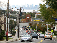 Staten Island, Looking Down The Hill Past Louis Street To Brooklyn In The Distance