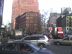 Busy Intersection In Tribeca, A Trendy Manhattan Neighborhood