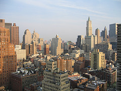The Tribeca District, A Historically Famous Area, Seen From Atop A Building Facing South