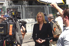 A News Reporter Goes On Air At A Location In The Upper East Side