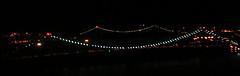 A Night-time Panoramic View Of The Bronx-Whitestone Bridge In New York