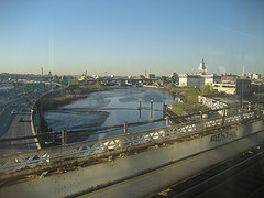 A View Of The Flushing River From A Bridge.