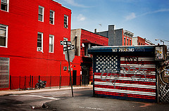 An American Flag On A Building In Williamsburg, Brooklyn