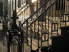 Ornate Wrought-iron Railings In Front Of Federal Style Townhouse, 203 Prince Street In Manhattan
