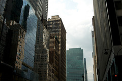 Partial View Of Buildings On 42nd Street In New York Around 5 Pm