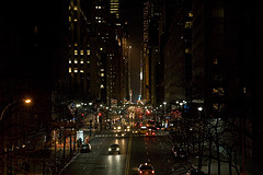 City Lights At Night On 42nd Street.
