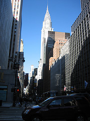 A Look Down A Busy And Sunny 42nd Street.