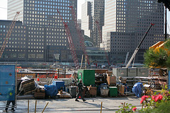Construction Crew And Cranes At 4 World Trade Center In Lower Manhattan.
