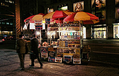 Busy Night, With Yummy Hotdogs At 55th Street Of New York City
