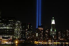 Twin Beams Shine Into The Sky From The World Trade Center Site, 9/11 Memorial