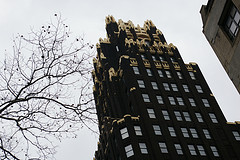 A View Looking Up At The American Radiator Building On A Winter Day