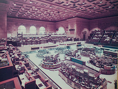 A Photo Of An Empty Floor Of The New York Stock Exchange C. 1980s