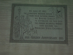 The Stone Was Established On The Golden Anniversary Of American Stock Exchange.