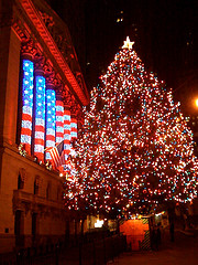 New York Stock Exchange Lit Up Lavishly For Christmas