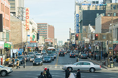 Harlem Street Scene With Apollo Theater And Touro College