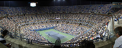 Nighttime Crowd At U.s. Open Match In Arthur Ashe Stadium