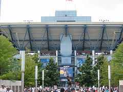A Huge Crowd Is Waiting To Go Inside Before The Arthur Ashe Stadium To Watch The Game.