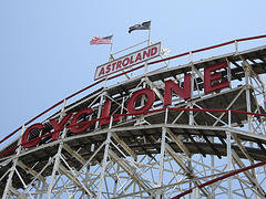 The Famous Wooden Cyclone Roller Coaster At Coney Island's Defunct Astroland Park
