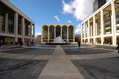 View Of Avery Fisher Hall Windows Across Lincoln Center's Central Plaza