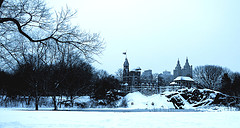 Snowy Scene Of Belvedere Castle From A Distance