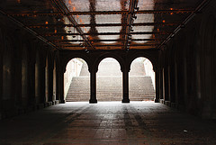 Image Of Stairs And An Archway At Bethesda Terrace.