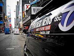 Street-eye View Of Channel 7 News Van Travelling Down Broadway