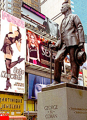 Statue Of Legendary Broadway Figure George M. Cohan Stands In Times Square