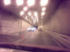 Blurry Picture Of Brooklyn-battery Tunnel Taken From Moving Car