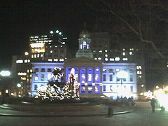 Brooklyn Borough Hall At Night In A Holiday Season Moment.