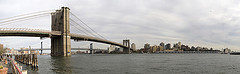 The Brooklyn Bridge Stretches Across The River.