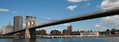 What A Complete And Stunning View Of The Brooklyn Bridge And The Surrounding Area.