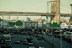 A Great Look At The Size Of The Brooklyn Bridge From Street Level.