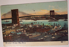The Brooklyn Bridge Captured In A Vintage Postcard.