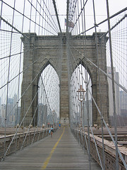 Photo Looking Across The Pedestrian Level Of The Brooklyn Bridge New York City