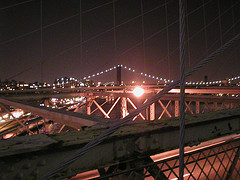 Nighttime Shot Downstream From The Brooklyn Bridge