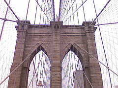 Brooklyn Bridge - View Of Cables And Tower Top
