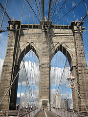 Looking Down The Brooklyn Bridge On A Fair Day.