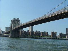 Brooklyn Bridge, A Suspension Bridge, Spanning The East River In New York City.